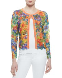 Michael Simon - Floral Lace Cropped Cardigan - Lyst