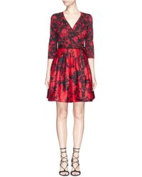 Diane von Furstenberg 'Jewel' Floral Print Wool-Silk Wrap Dress red - Lyst