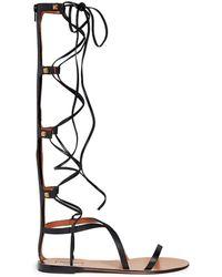 Valentino 'Rockstud' Knee High Leather Gladiator Sandals black - Lyst