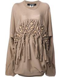 Junya Watanabe Comme des Garçons Beaded Front Oversize Sweater - Lyst