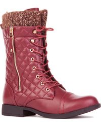 Akira Black Label - Elena Quilted Combat Boot In Wine - Lyst
