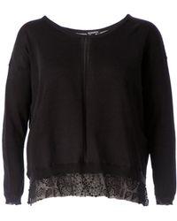 Ann Demeulemeester Sheer Embroidered Hem Sweater - Lyst