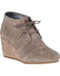 TOMS Desert Wedge Boot Taupe Suede - Lyst