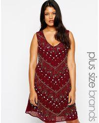 Lovedrobe V Neck Embellished Shift Dress - Lyst