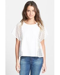 Madewell Perforated Boxy Top white - Lyst