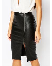 Lipsy Quilted Faux Leather Pencil Skirt With Side Split Zip - Black