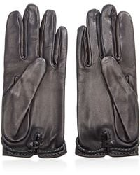 What Goes Around Comes Around Hermes Black Leather Hook Gloves - Lyst