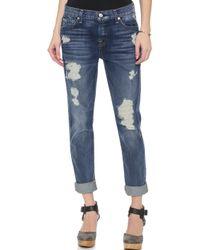 7 For All Mankind Josefina Destroyed Jeans - Grinded Vintage Indigo 2 - Lyst