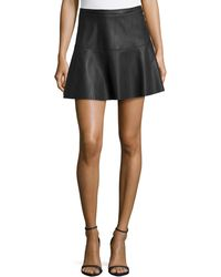 Dex Faux-Leather Flared Skirt - Lyst