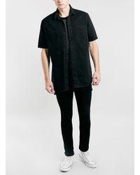 Topman Black Denim Zip Skater Shirt - Lyst
