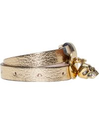 Alexander McQueen Gold Double_Wrap Leather Bracelet gold - Lyst