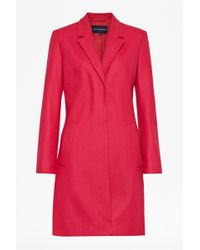 French Connection Platform Felt Fitted Coat - Lyst