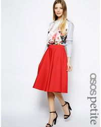 Asos Full Midi Skirt in Scuba with Pockets - Lyst
