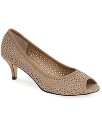 Vaneli 'Ugonia' Perforated Peep Toe Pump brown - Lyst