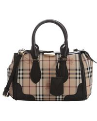 Burberry - Chocolate And Honey Haymarket Check Coated Canvas 'gladstone' Small Convertible Tote - Lyst