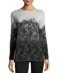 Lafayette 148 New York Cashmere Degrade Floral Lace Print Sweater - Lyst