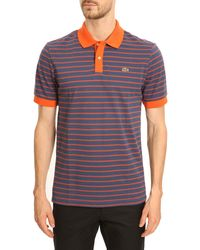Lacoste Striped Polo with Contrasting Blue and Orange - Lyst