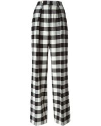 MSGM Checked Wide Leg Trousers - Lyst
