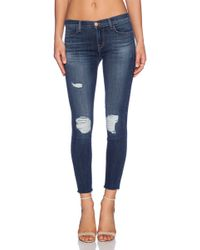 J Brand Cropped Mid Rise Skinny - Lyst