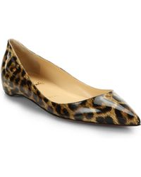 Christian Louboutin Leopard Print Patent Leather Point-Toe Flats animal - Lyst