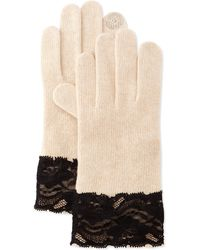 Portolano Cashmere-Blend Lace-Cuffed Tech Gloves - Lyst