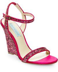 Betsey Johnson Darci Satin And Glitter Wedge Sandals purple - Lyst
