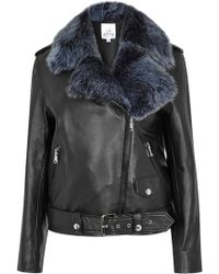 La Bête   Moto Black Shearling And Leather Jacket   Lyst