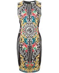 Versace Baroque Flower-Print Dress - Lyst