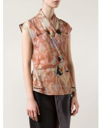 Ralph Rucci Printed Cross Over Front Top