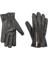 Alexander McQueen Zip Leather Gloves - Black