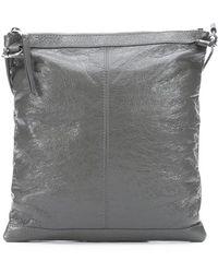 Balenciaga Dark Grey Patent Leather Studded Shoulder Bag - Lyst