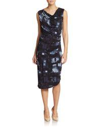 Tahari Devin Dress blue - Lyst