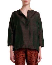 Nikki Chasin Gardener Silk Top - Green