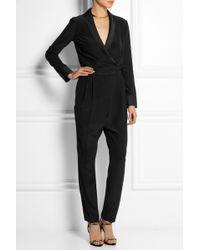 b05bac8b8da Gucci - Satin-trimmed Silk-crepe Jumpsuit - Lyst