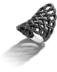 John Hardy Black Ruthenium Plating Large Saddle Ring - Lyst