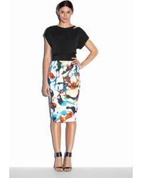 Milly Expressionist Print Midi Skirt - Lyst