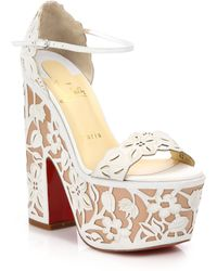 Christian Louboutin Houghton Lace-Effect Leather Platform Sandals white - Lyst