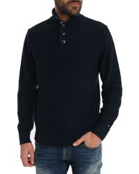 Tommy Hilfiger Navy Blue Contrasting Neck Truckers Sweater - Lyst