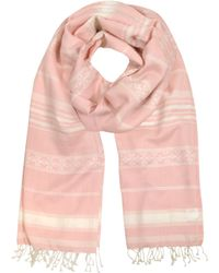 Tory Burch | Logo Pink Jacquard Striped Scarf | Lyst