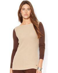 Lauren by Ralph Lauren Color Blocked Boatneck Sweater - Lyst