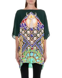 Mary Katrantzou Peacock-print Silk Kaftan Green - Lyst