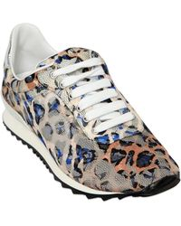 Casadei Animalier Mesh  Lace Sneakers - Lyst