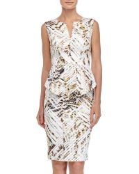 Black Halo Sashi Printed Peplum Sheath Dress white - Lyst