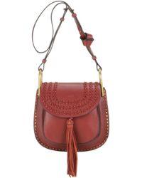 Chlo�� Hudson Medium Tassel Leather Shoulder Bag in Red (SIENNA RED ...