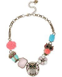 Betsey Johnson Gold-tone Owl Frontal Necklace - Lyst