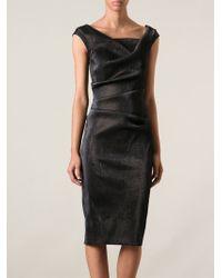 Talbot Runhof Black Draped Dress - Lyst