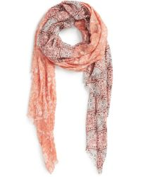 Hinge - 'woodland' Mixed Print Scarf - Coral - Lyst