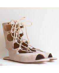 Chloé   Suede Gladiator Sandal, Cream Puff   Lyst