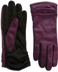 Lord & Taylor - Ruched Leather Gloves - Lyst