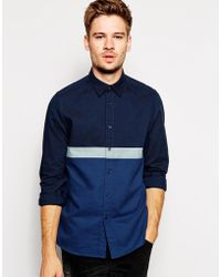 Asos Oxford Shirt in Long Sleeve with Stripe - Lyst